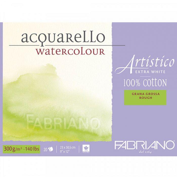 Бумага Fabriano Artistico 300 gsm. 100% хлопок. Склейка 20 листов 23X31 см. Rough. Extra White