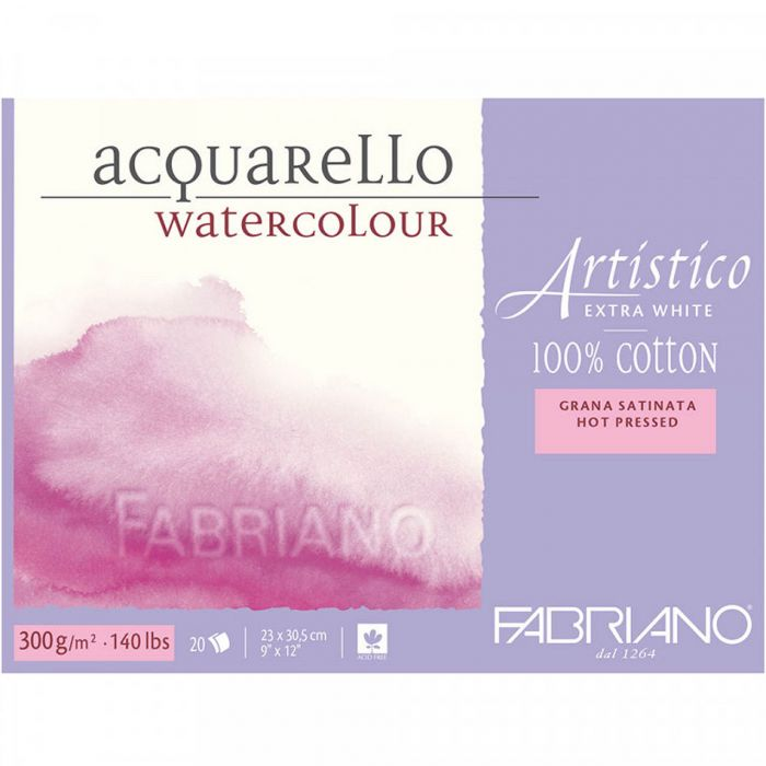 Бумага Fabriano Artistico 300 gsm. 100% хлопок. Склейка 20 листов 23X31 см. Smooth / Hot Press. Extra white