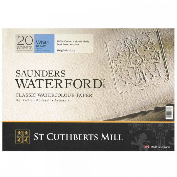 Склейка SAUNDERS WATERFORD 300 г/м 18x36 100% хлопок Cold Pressed среднее зерно 20 листов