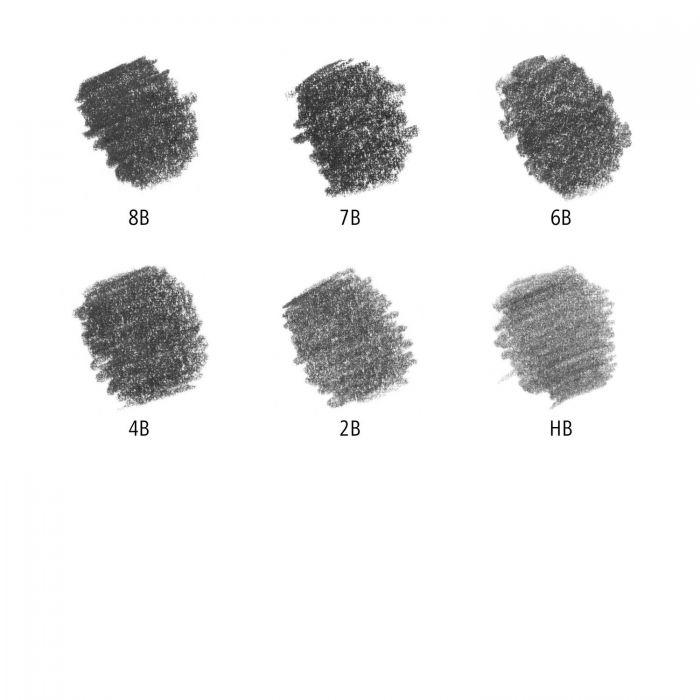 Набор из 6 графитных карандашей Staedtler Mars Lumograph, твердость 8B-HB