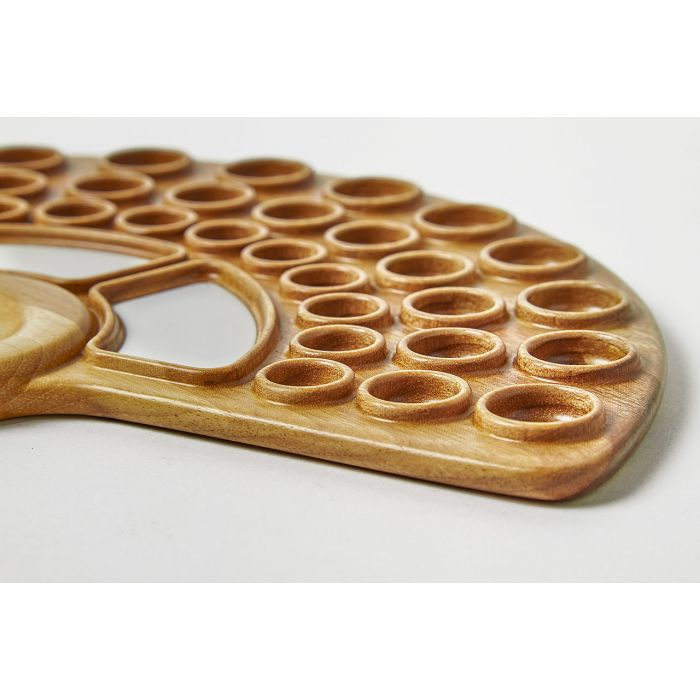 """Палитра деревянная для акварели """"Веер"""" - 3. Орех, водостойкий лак, пластиковые вставки. Ручная работа. Производитель Bernat Brothers"""
