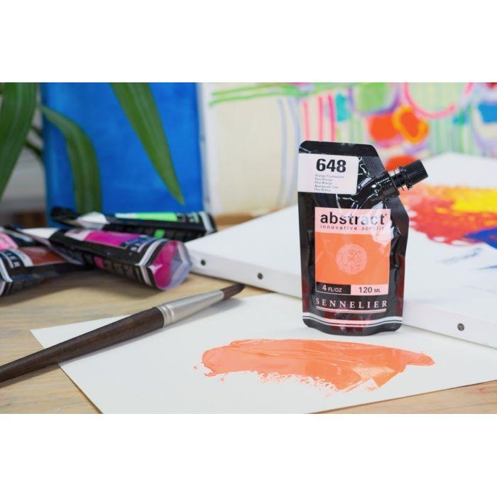 Краска акриловая Abstract Sennelier 120 мл Fluo Orange 648