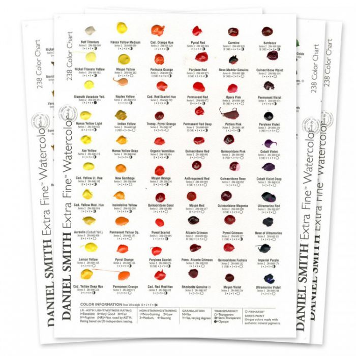 Дот карта акварели Daniel Smith на 238 цветов.