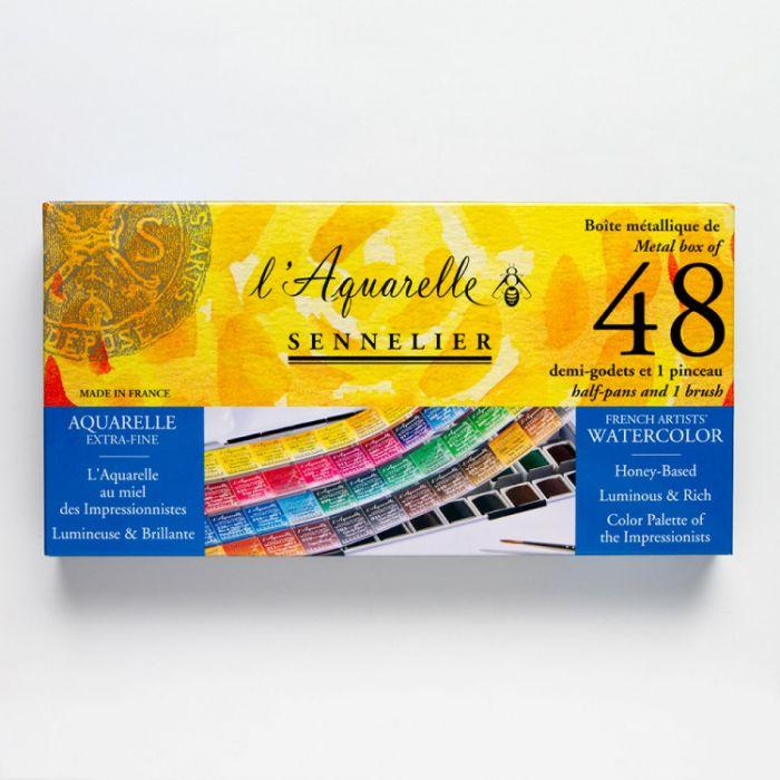 Акварельный набор Sennelier, 48 цветов в кюветах половинках с кистью в металлическом пенале