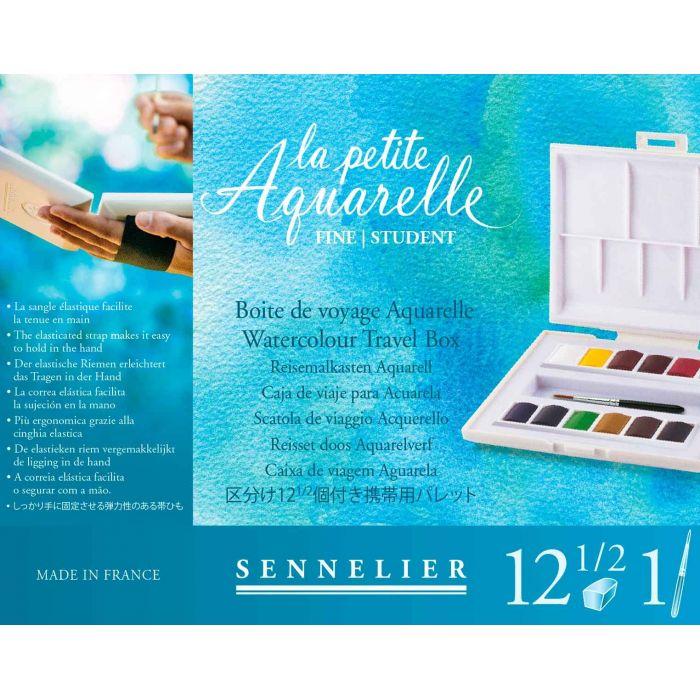 Акварель Sennelier, набор 12 цветов в кюветах половинках с кистью в компактном пластиковом пенале