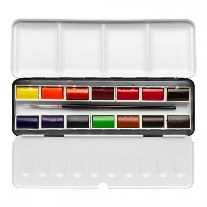 Акварель Sennelier, набор 14 цветов в кюветах с кистью в металлическом пенале