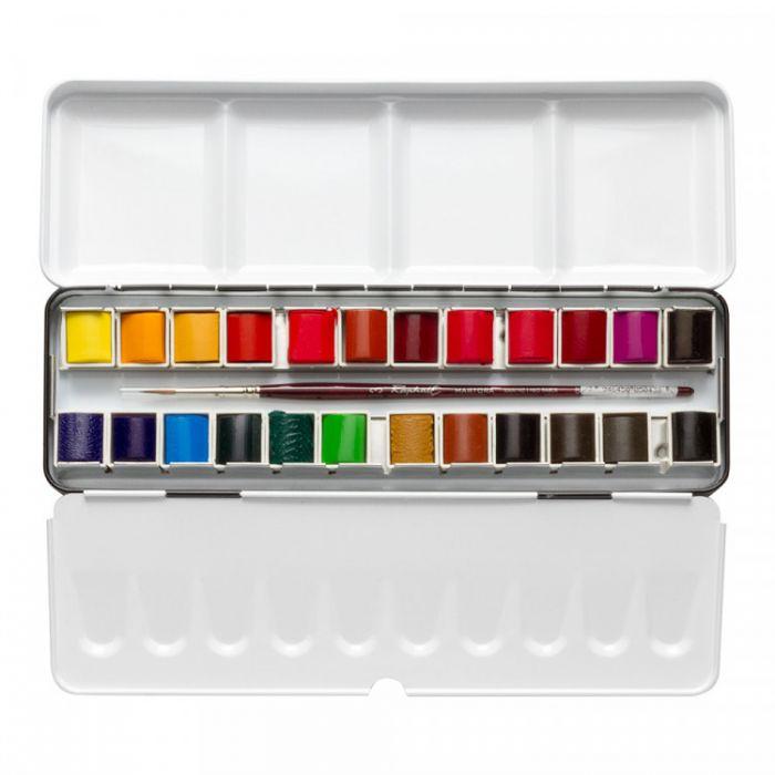 Акварельный набор Sennelier, 24 цвета в кюветах половинках с кистью в металлическом пенале