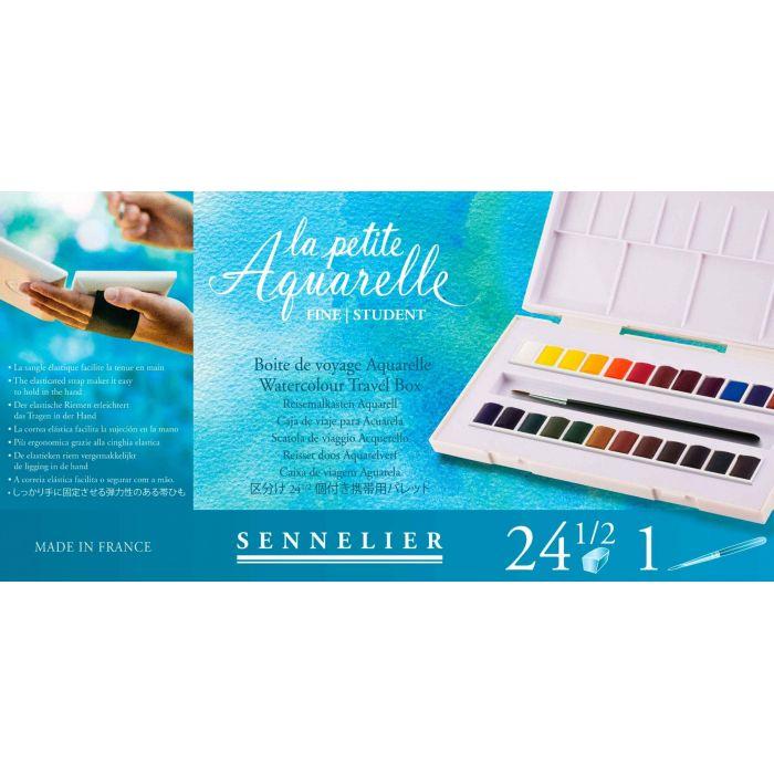 Акварельный набор Sennelier, 24 цвета в кюветах половинках с кистью в пластиковом пенале