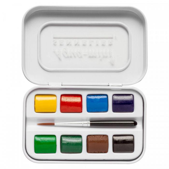 Акварельный набор Sennelier для пленэров и путешествий, 8 цветов в кюветах половинках с кистью в компактном пластиковом пенале