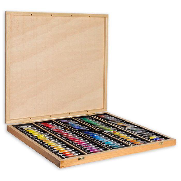 Акварель Sennelier, полный набор из 98 цветов в тубах по 10 мл в деревянной подарочной коробке