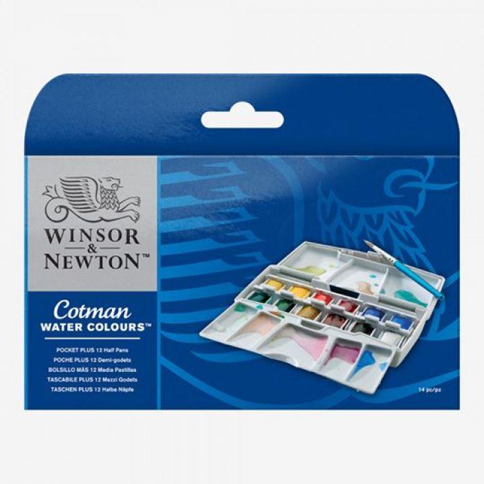 Набор для акварелистов-путешественников Winsor & Newton серии Cotman. 12 цветов половинок
