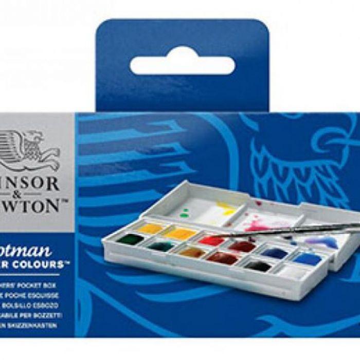 Акварельный набор для путешествий Winsor & Newton Sketchers. Серия Cotman. 12 кюветок половинок