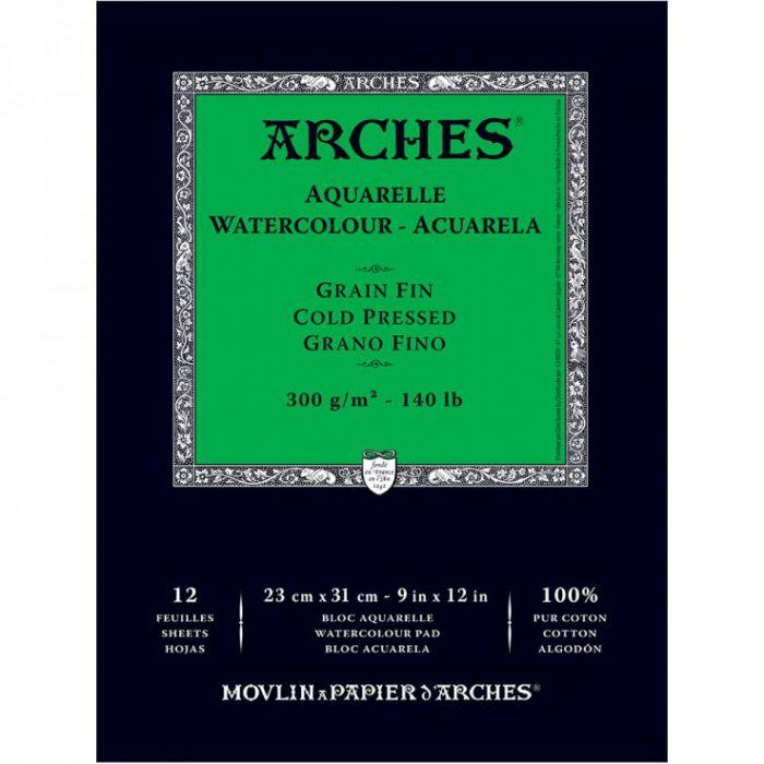 Акварельная бумага Arches. 100% хлопок. Склейка 12 листов. 23X31 см. Grain fin - Cold pressed (среднее зерно). 300 gsm