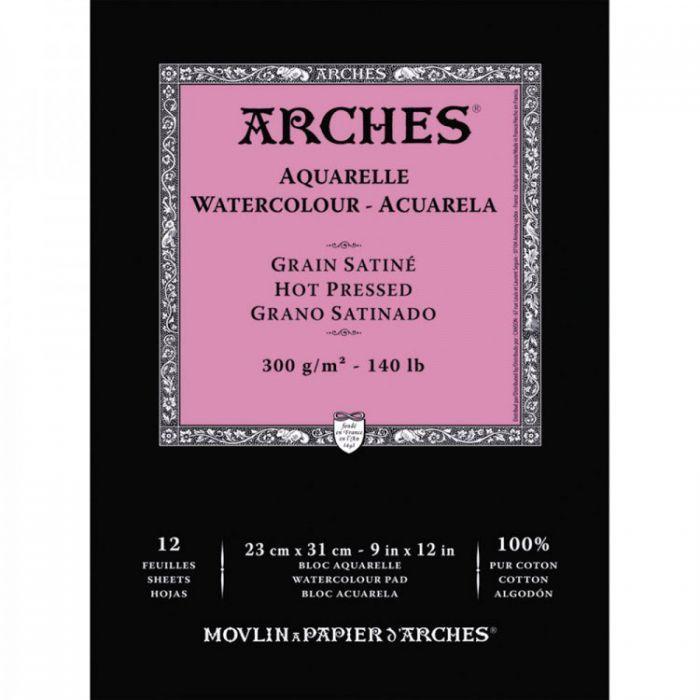Акварельная бумага Arches. 100% хлопок. Склейка 12 листов. 23X31 см. Satin - Hot pressed (гладкая). 300 gsm