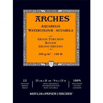 Акварельная бумага Arches. 100% хлопок. Склейка 12 листов. 23X31 см. Rough - Torchon (грубое зерно). 300 gsm