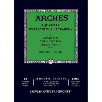 Акварельная бумага Arches. 100% хлопок. Склейка 12 листов. 26X36 см. Grain fin - Cold pressed (среднее зерно). 300 gsm