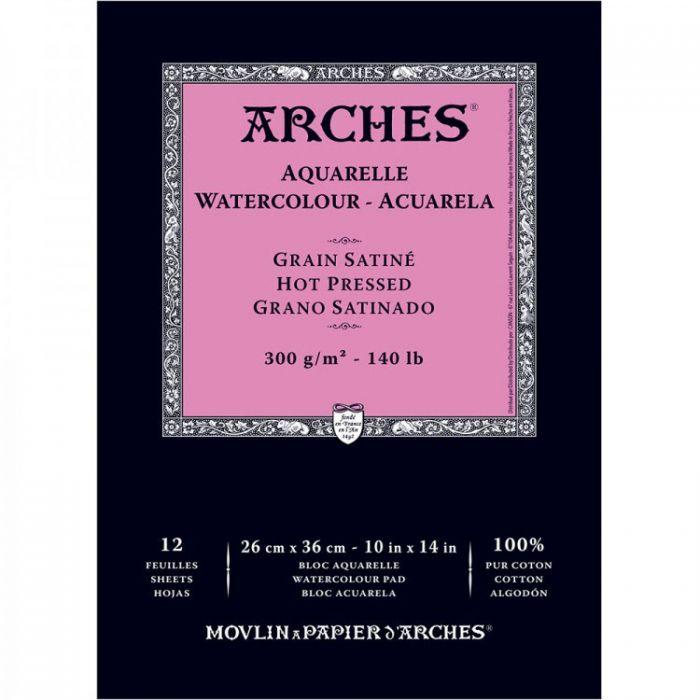 Акварельная бумага Arches. 100% хлопок. Склейка 12 листов. 26X36 см. Satin - Hot pressed (гладкая). 300 gsm