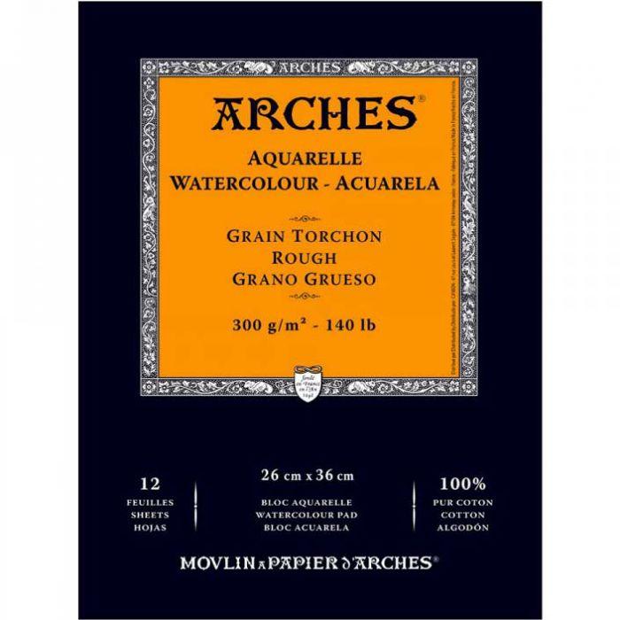 Акварельная бумага Arches. 100% хлопок. Склейка 12 листов. 26X36 см. Rough - Torchon (грубое зерно). 300 gsm