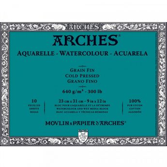 Профессиональная акварельная бумага ARCHES. 100% хлопок. Склейка 10 листов. 23X31 см. Grain fin - Cold pressed (среднее зерно). 640 gsm
