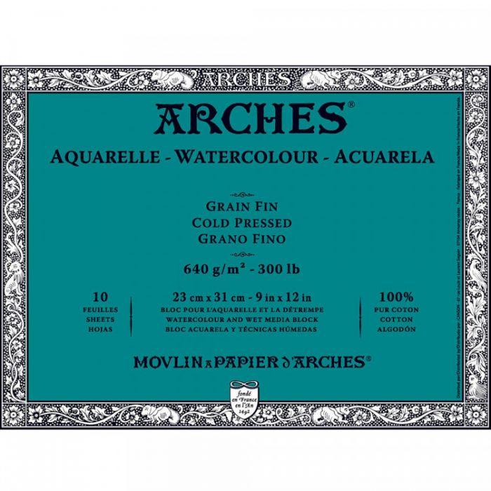 Профессиональная акварельная бумага ARCHES. Две склейки по 10 листов. 23X31 см. 640 gsm. 100% хлопок. Grain fin - Cold pressed (среднее зерно)