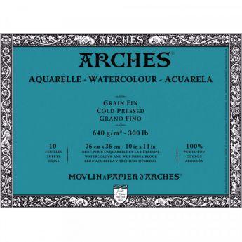 Профессиональная акварельная бумага ARCHES. 100% хлопок. Склейка 10 листов. 26X36 см. Grain fin - Cold pressed (среднее зерно). 640 gsm