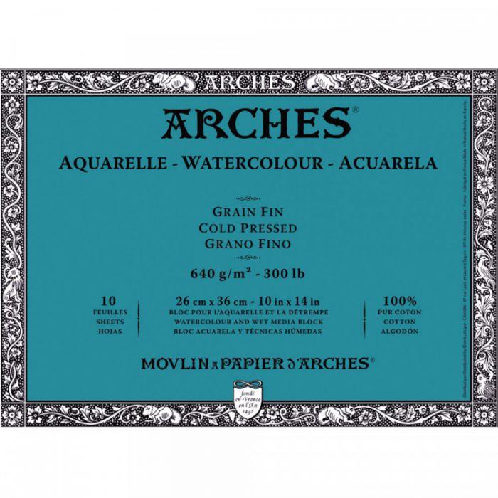 Профессиональная акварельная бумага ARCHES. Две склейки по 10 листов. 25x36 см. 640 gsm. 100% хлопок. Grain fin - Cold pressed (среднее зерно)