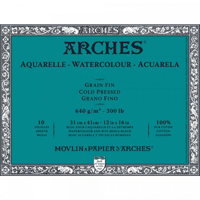 Профессиональная акварельная бумага ARCHES. 100% хлопок. Склейка 10 листов. 31X41 см. Grain fin - Cold pressed (среднее зерно). 640 gsm