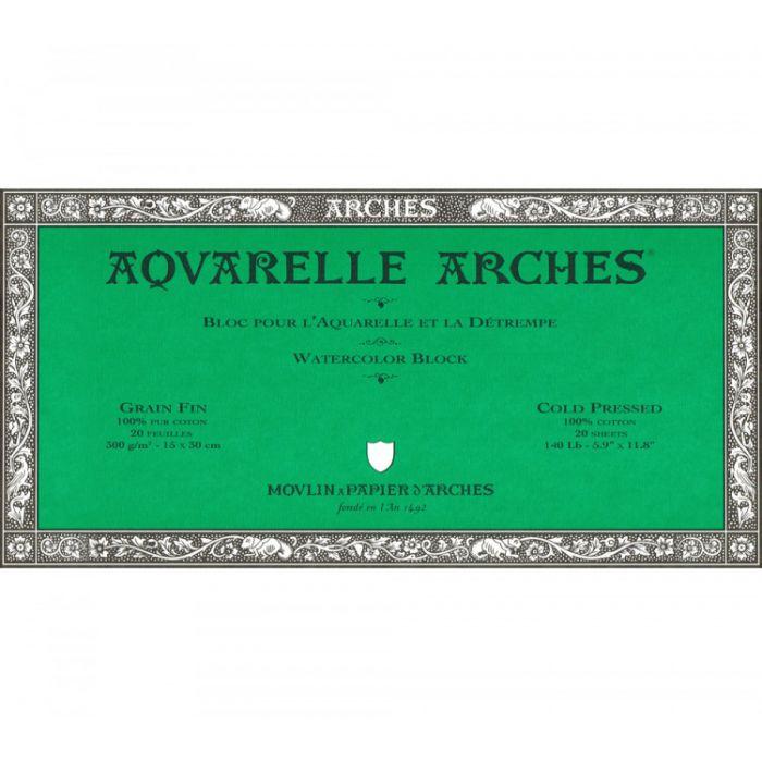 Профессиональная акварельная бумага ARCHES. 100% хлопок. Склейка 20 листов. 15X31 см. Grain fin - Cold pressed (среднее зерно). 300 gsm