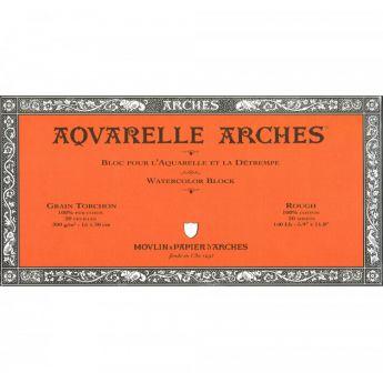 Профессиональная акварельная бумага ARCHES. 100% хлопок. Склейка 20 листов. 15X31 см. Rough - Torchon (грубое зерно). 300 gsm