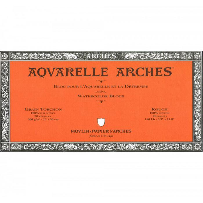 Профессиональная акварельная бумага ARCHES. 100% хлопок. Склейка 20 листов. 15X30 см. Rough - Torchon (грубое зерно). 300 gsm