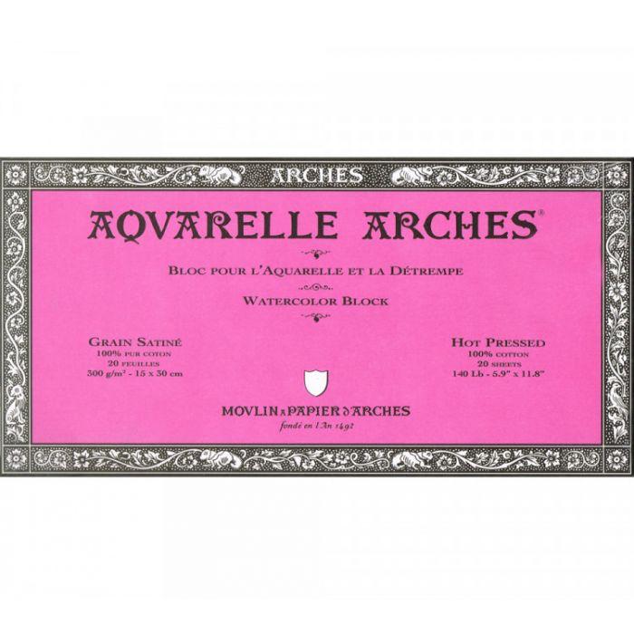 Профессиональная акварельная бумага ARCHES. 100% хлопок. Склейка 20 листов. 15X31 см. Satin - Hot pressed (гладкая). 300 gsm