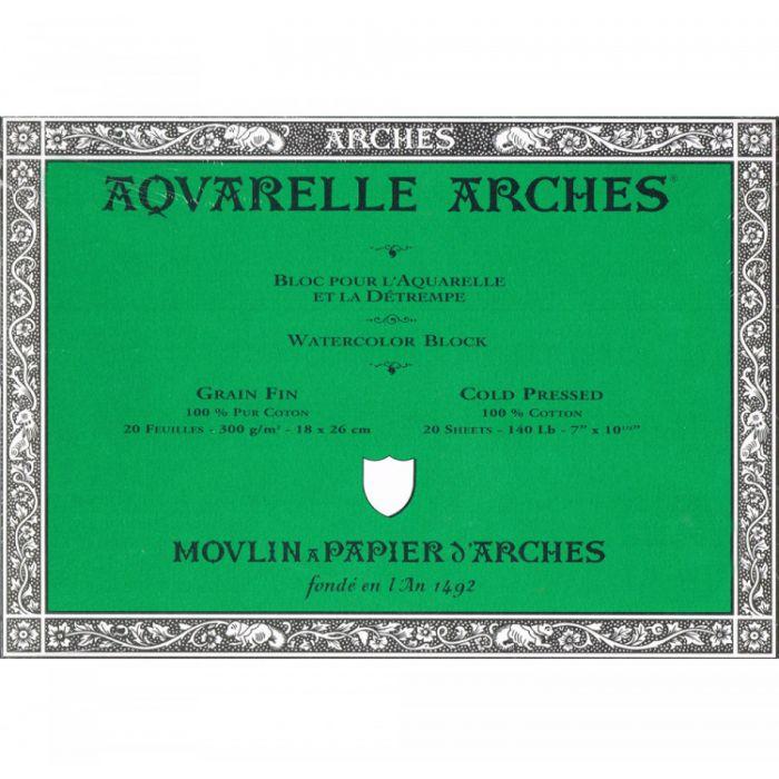 Профессиональная акварельная бумага ARCHES. 100% хлопок. Склейка 20 листов. 18X25 см. Grain fin - Cold pressed (среднее зерно). 300 gsm