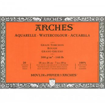 Профессиональная акварельная бумага ARCHES. 100% хлопок. Склейка 20 листов. 18X26 см. Rough - Torchon (грубое зерно). 300 gsm
