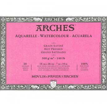 Профессиональная акварельная бумага ARCHES. 100% хлопок. Склейка 20 листов. 18X26 см. Satin - Hot pressed (гладкая). 300 gsm