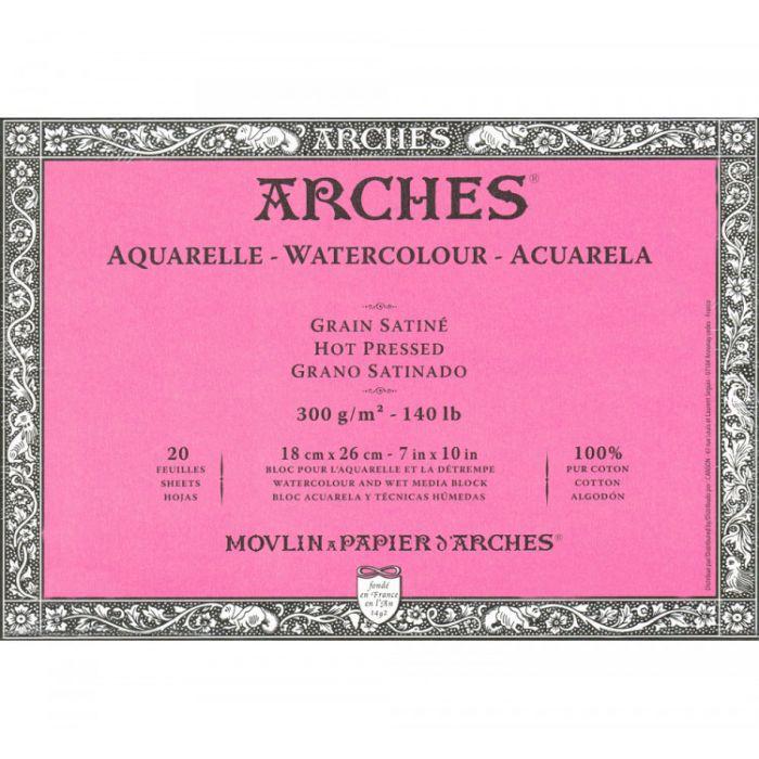 Профессиональная акварельная бумага ARCHES. Две склейки по 20 листов. 18X25 см. 300 gsm. 100% хлопок. Фактура на выбор - гладкая, среднее зерно, грубое зерно