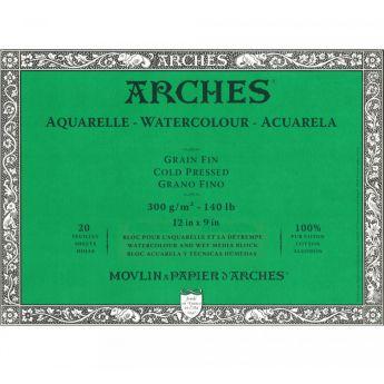Профессиональная акварельная бумага ARCHES. 100% хлопок. Склейка 20 листов. 23X31 см. Grain fin - Cold pressed (среднее зерно). 300 gsm