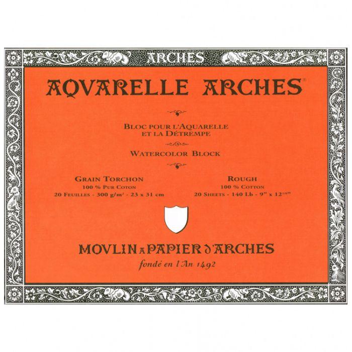 Профессиональная акварельная бумага ARCHES. 100% хлопок. Склейка 20 листов. 23X31 см. Rough - Torchon (грубое зерно). 300 gsm