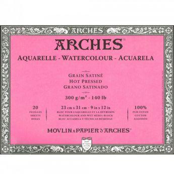 Профессиональная акварельная бумага ARCHES. 100% хлопок. Склейка 20 листов. 23X31 см. Satin - Hot pressed (гладкая). 300 gsm