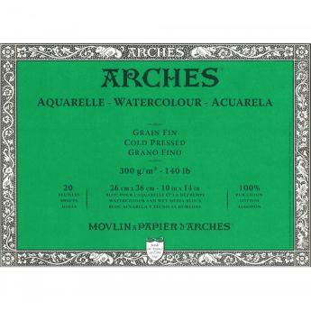 Профессиональная акварельная бумага ARCHES. 100% хлопок. Склейка 20 листов. 26X36 см. Grain fin - Cold pressed (среднее зерно). 300 gsm