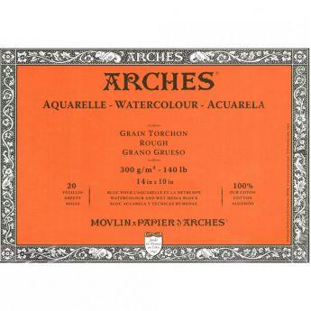 Профессиональная акварельная бумага ARCHES. 100% хлопок. Склейка 20 листов. 25X36 см. Rough - Torchon (грубое зерно). 300 gsm