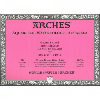 Профессиональная акварельная бумага ARCHES. 100% хлопок. Склейка 20 листов. 25X36 см. Satin - Hot pressed (гладкая). 300 gsm