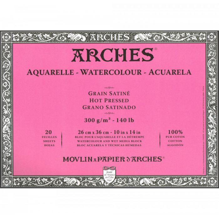Профессиональная акварельная бумага ARCHES. Две склейки по 20 листов. 25X36 см. 300 gsm. 100% хлопок. Фактура на выбор - гладкая, среднее зерно, грубое зерно