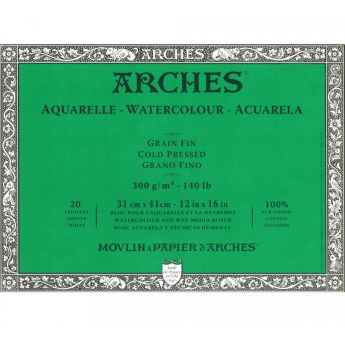 Профессиональная акварельная бумага ARCHES. 100% хлопок. Склейка 20 листов. 31X41 см. Grain fin - Cold pressed (среднее зерно). 300 gsm