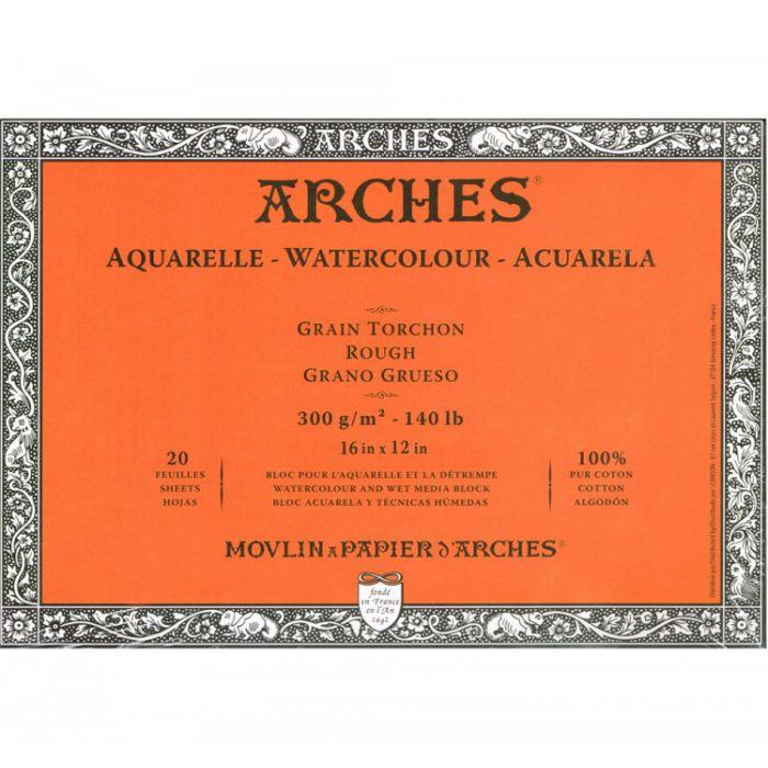 Профессиональная акварельная бумага ARCHES. 100% хлопок. Склейка 20 листов. 31X41 см. Rough - Torchon (грубое зерно). 300 gsm