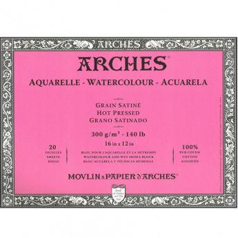 Профессиональная акварельная бумага ARCHES. 100% хлопок. Склейка 20 листов. 31X41 см. Satin - Hot pressed (гладкая). 300 gsm