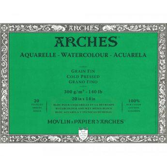 Профессиональная акварельная бумага ARCHES. 100% хлопок. Склейка 20 листов. 36X51 см. Grain fin - Cold pressed (среднее зерно). 300 gsm