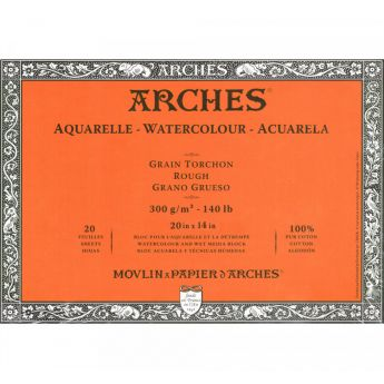 Профессиональная акварельная бумага ARCHES. 100% хлопок. Склейка 20 листов. 36X51 см. Rough - Torchon (грубое зерно). 300 gsm
