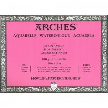 Профессиональная акварельная бумага ARCHES. 100% хлопок. Склейка 20 листов. 36X51 см. Satin - Hot pressed (гладкая). 300 gsm