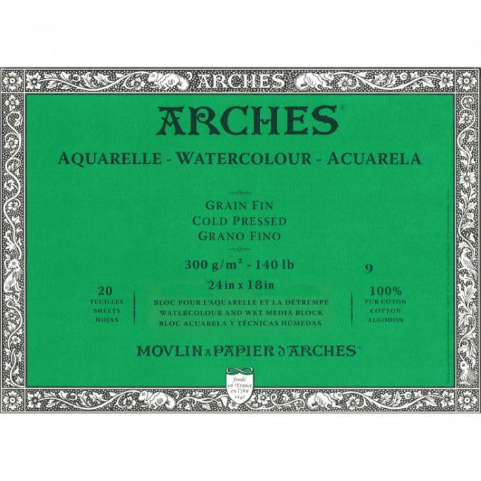 Профессиональная акварельная бумага ARCHES. 100% хлопок. Склейка 20 листов. 46X61 см. Grain fin - Cold pressed (среднее зерно). 300 gsm