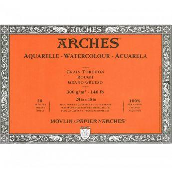 Профессиональная акварельная бумага ARCHES. 100% хлопок. Склейка 20 листов. 46X61 см. Rough - Torchon (грубое зерно). 300 gsm